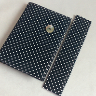A6 notebook with removeable fabric cover and matching bookmark - spotted navy