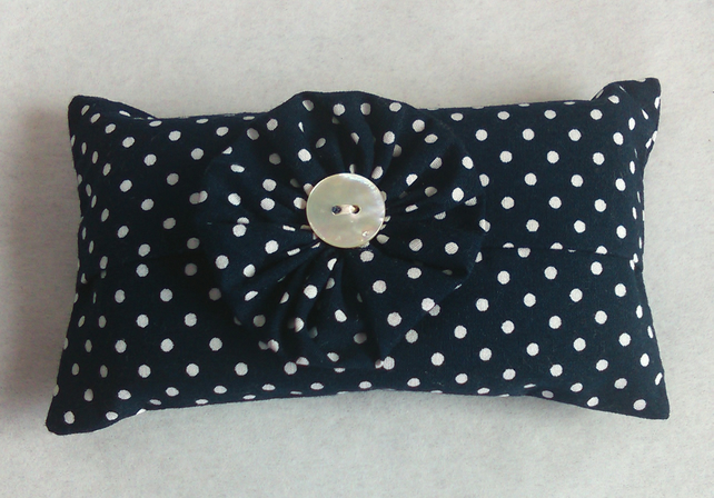 Pocket tissue holder in a dark navy and white spotty fabric