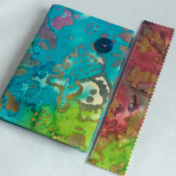 A6 notebook with removeable fabric cover and matching bookmark - turquoise batik