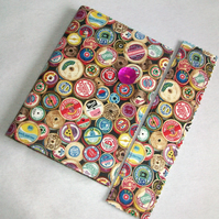 A6 notebook with removeable fabric cover and matching bookmark - vintage reels