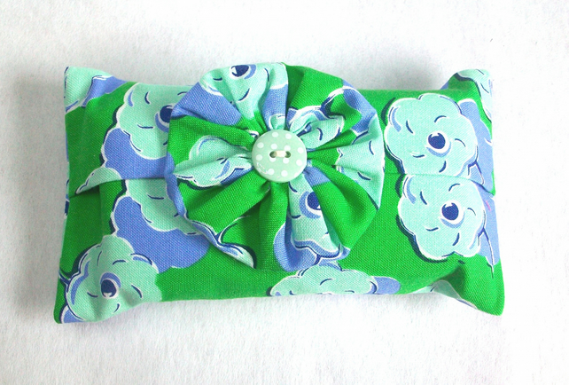 Pocket tissue holder in a blue and green poppy fabric