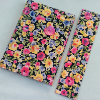 A6 notebook with removeable fabric cover and matching bookmark - vintage floral