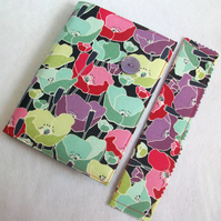 A6 notebook with removeable fabric cover and matching bookmark - poppies