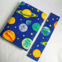 A6 notebook with removeable fabric cover and matching bookmark - planets