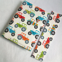 A6 notebook with removeable fabric cover and matching bookmark - tractors