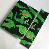 A6 notebook with removeable fabric cover and matching bookmark - rocking crocs