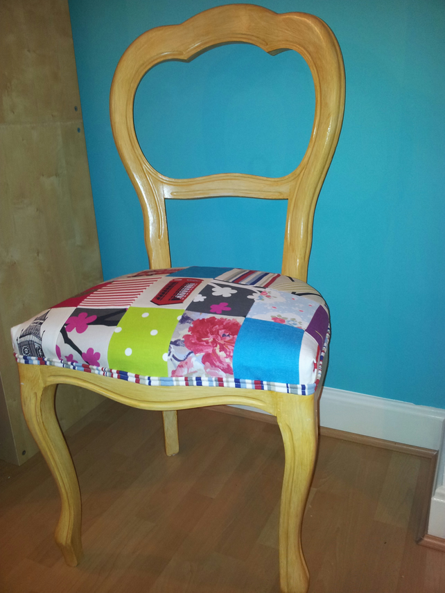 Fabric Patchwork Vintage Retro Upcycled Dining Folksy