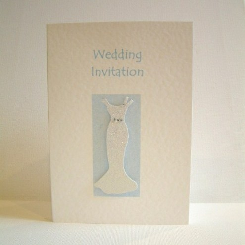 Personalised 'Wedding dress' wedding invitations - 10 cards