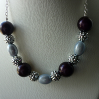 PLUM AND SILVER GREY NECKLACE.  531