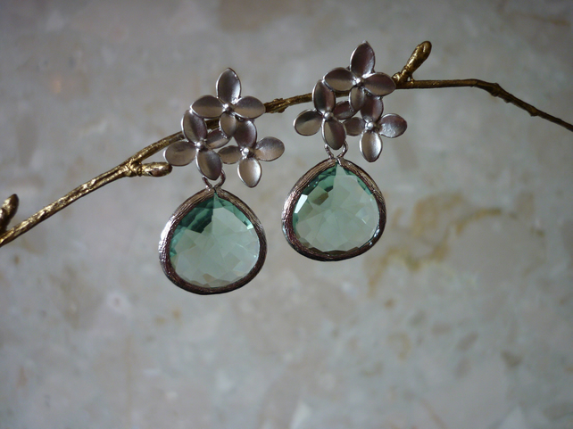 ERNITE AND CHERRY BLOSSOM SILVER 925 EARRINGS. 529