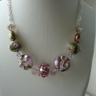PINKS, GREENS AND SILVER -  SECRET GARDEN NECKLACE.  488