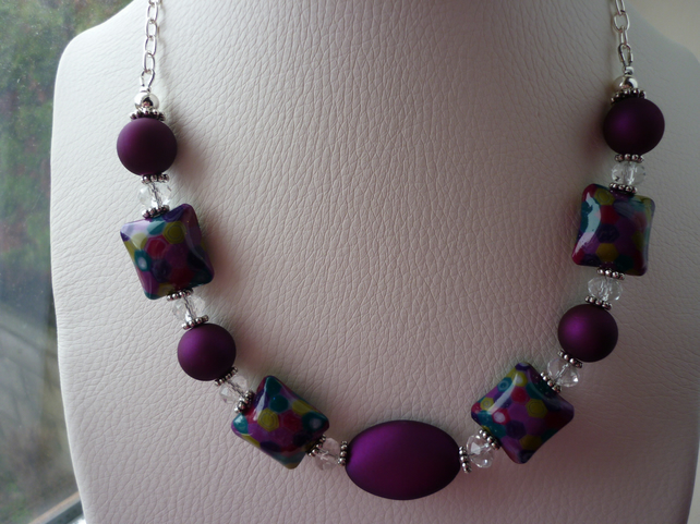 BRIGHT NIGHTS CITY LIGHTS POLYMER CLAY BEAD NECKLACE.  426