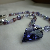 TANZANITE SWAROVSKI CRYSTAL HEART NECKLACE.  264
