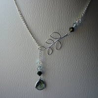 BLACK DIAMOND AND SILVER LARIAT DESIGN NECKLACE.  599