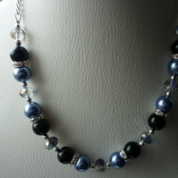 DEEP SLATE BLUE, BLACK AND RHINESTONE NECKLACE.  616