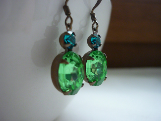 PERIDOT GREEN AND BLUE ZIRCON, VINTAGE PATINA BRASS EARRINGS.  667