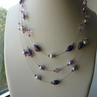 PURPLE, PINK, LILAC AND GREY MULTI STRAND NECKLACE.  798