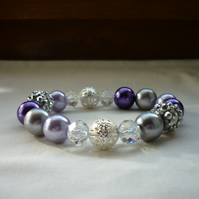 PURPLE, LILAC, GREY AND SILVER  BRACELET.  809