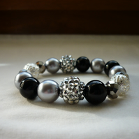BLACK, GREY AND SILVER BRACELET.  808