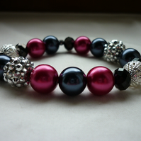 RASPBERRY, DARK GREY, BLACK AND SILVER BRACELET.  819