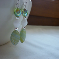 LEMON AND LIME, WHITE AND STERLING SILVER DANGLE EARRINGS.  847