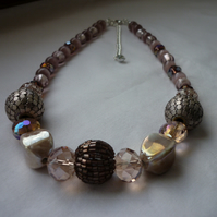 SHADES OF PINKS, BRONZE AND SILVER NECKLACE.  886