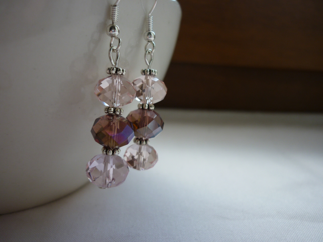 SHADES OF PINKS, BRONZE AND SILVER EARRINGS.  888