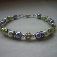 LAVENDER, WHITE AND LIME RHINESTONE BRACELET.  717