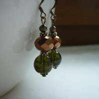 DARK OLIVE GREEN AND BRONZE EARRINGS.  738