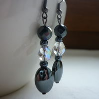 HEMATITE AND AB CRYSTAL DROP EARRINGS.  747
