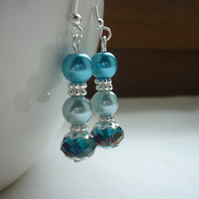 TEAL, AQUA AND TURQUOISE EARRINGS.  751