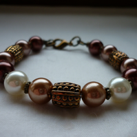 CINNAMON, OLD GOLD, WARM GOLD AND IVORY BRACELET.  753