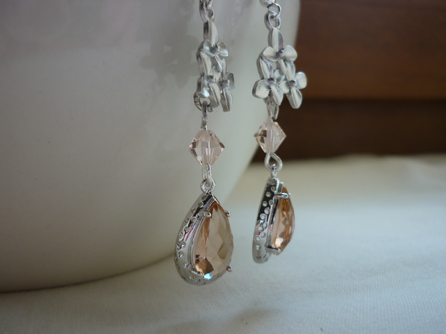 PEACH AND SILK SILVER PLATED CHERRY BLOSSOM EARRINGS.  764
