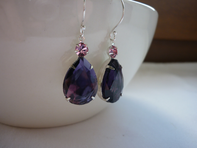 AMETHYST PURPLE, PINK AND STERLING SILVER  TEARDROP, RHINESTONE EARRINGS.  917