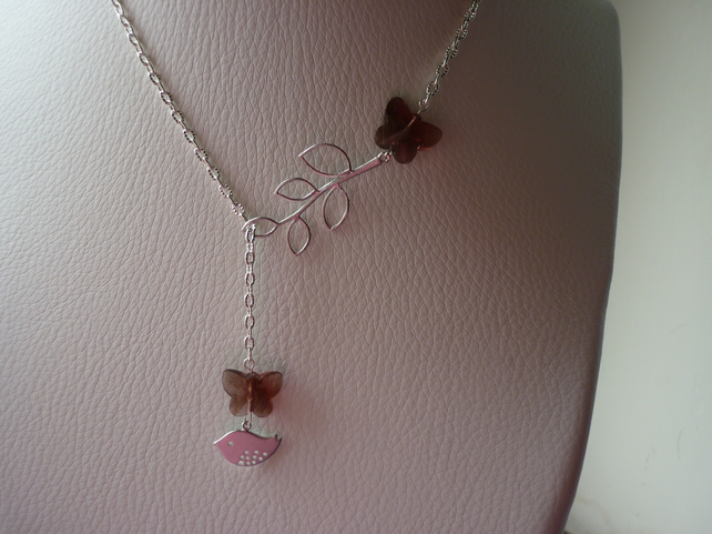 AMETHYST AND SILVER, BUTTERFLY, BIRD AND LEAF LARIAT DESIGN NECKLACE.  925