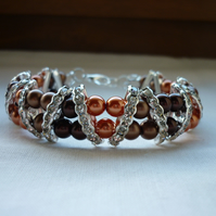 COFFEE, CHOCOLATE BROWN AND COPPER RHINESTONE BRACELET.  929