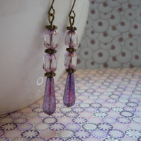 AMETHYST, COPPER AND ANTIQUE BRONZE DANGLE EARRINGS.  959