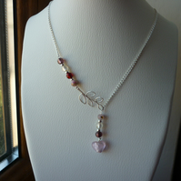 PINK & SILVER HEART, LARIAT DESIGN NECKLACE.  -  1010