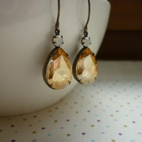 LIGHT COLORADO TOPAZ, WHITE OPAL AND PATINA BRASS EARRINGS.  1022