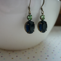 MONTANA SAPPHIRE, PERIDOT GREEN AND PATINA BRASS VINTAGE EARRINGS.  1026