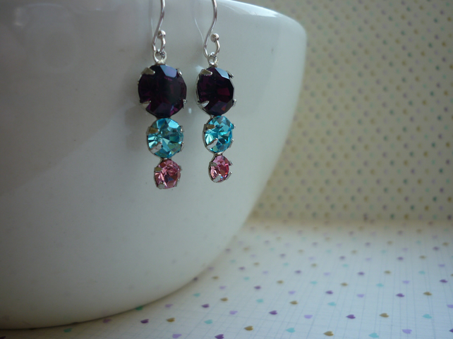 AMETHYST, AQUA, SILVER AND PINK, VINTAGE STYLED EARRINGS.  1051