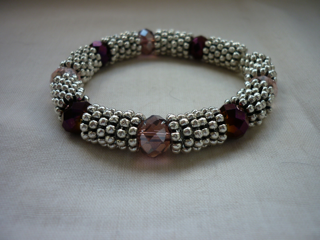 AMETHYST, PINK, PURPLE AND SILVER BRACELET.  1054