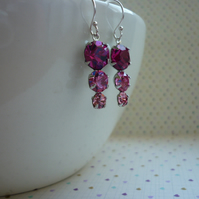 FUSCHIA, ROSE, LIGHT ROSE AND STERLING SILVER VINTAGE STYLE EARRINGS.  1059