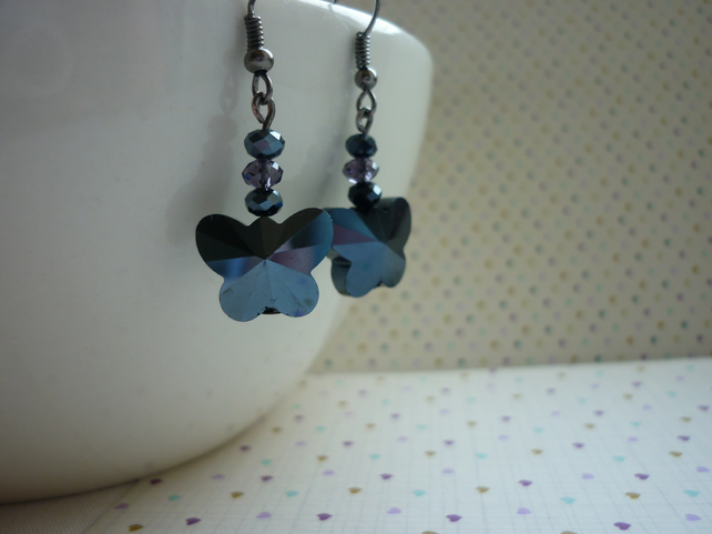 HEMATITE & DARK LILAC BUTTERFLY EARRINGS.  1064