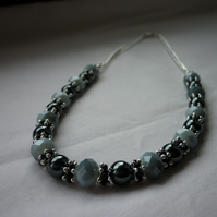 GREY SHADOW, HEMATITE, BLACK AND SILVER NECKLACE.  991