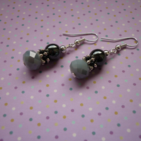 GREY SHADOW, HEMATITE, BLACK AND SILVER EARRINGS.  992