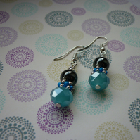 TROPICAL SEA, HEMATITE, BLUE AND SILVER EARRINGS.  996