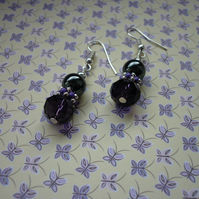 PURPLE, HEMATITE AND SILVER EARRINGS.  998