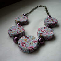 FLORAL DUCK EGG, WINE AND ANTIQUE BRONZE FABRIC COVERED BEAD NECKLACE.  1005