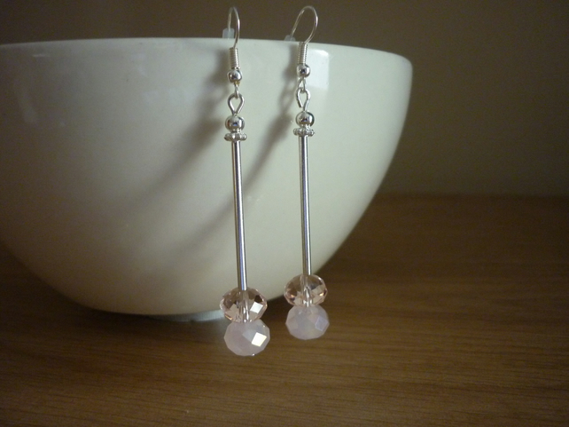 PINK AND SILVER , CRYSTAL DROP EARRINGS.
